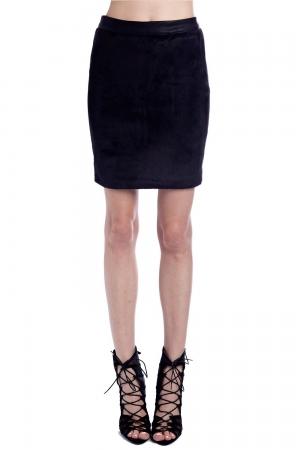 Minifalda en negro con textura de pelo