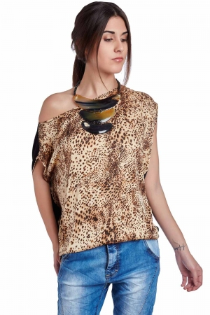 Top con estampado de leopardo marron