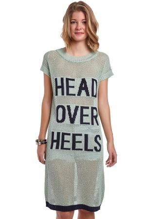 Vestido de malla verde con logo head over heels