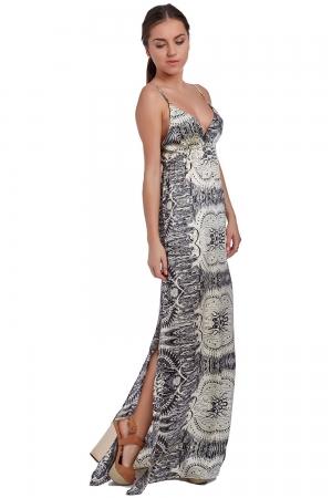Vestido largo con estampado mosaico beige