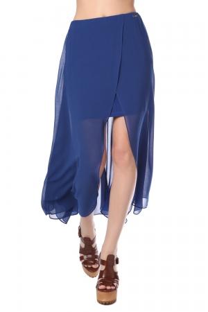 Falda larga cruzada de chifón azul