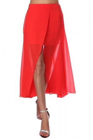 Falda larga cruzada de chifón rojo