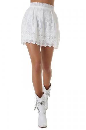Falda skater con bordado floral blanco