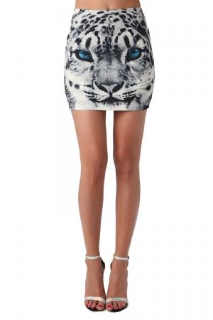 Minifalda con estampado de tigre