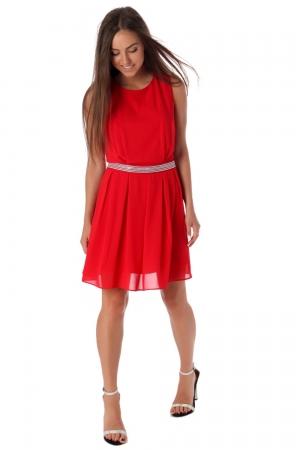 Vestido skater de chifón rojo