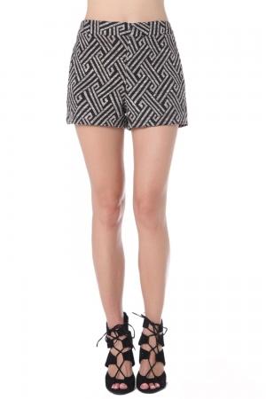 Pantalones cortos con estampado geométrico negro