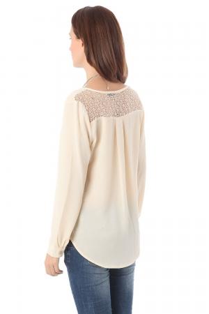 Blusa de manga larga beige con aplicacion de encaje