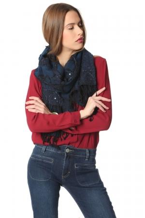 Chal de lana azul marino con adorno de lentejuelas - hecho a mano