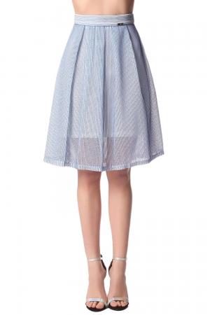 Falda a media pierna de malla con detalle plisado azul