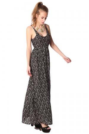 Vestido largo negro estampado con tirantes finos