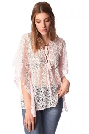 Top estilo kimono de encaje de croche con detalle anudado rosa
