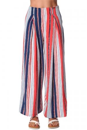 Pantalones de pernera ancha con estampado de rayas y cinturon en color rojo