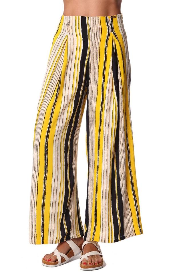 Pantalones de pernera ancha con estampado de rayas y cinturon en color amarillo