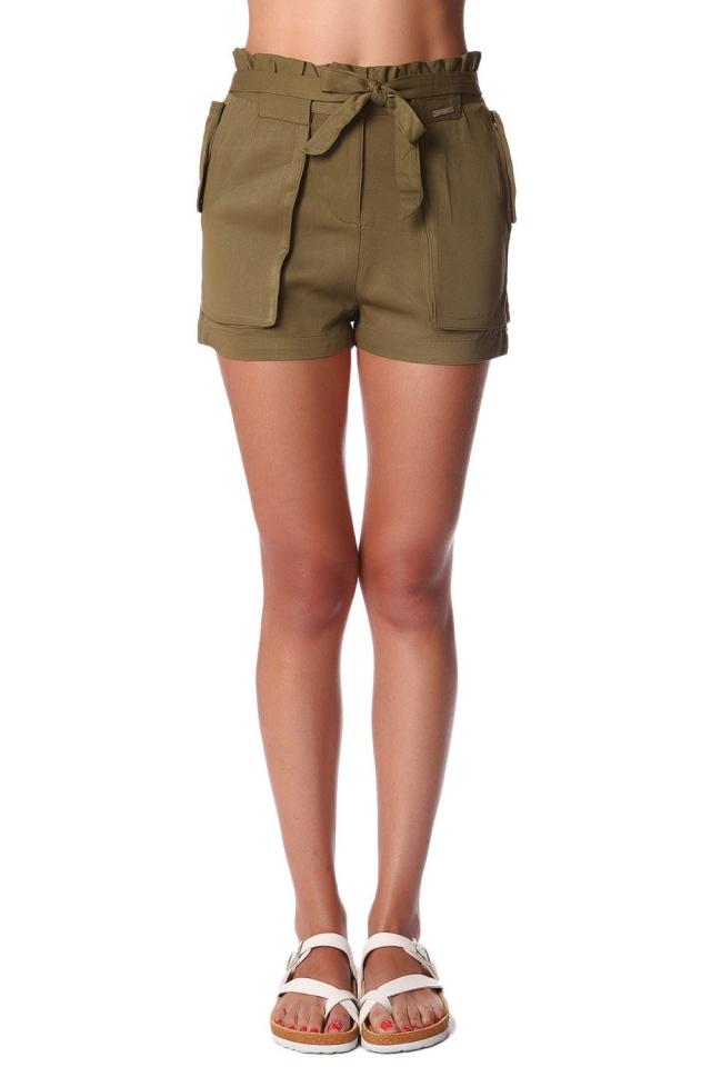 Pantalones cortos de sarga caqui con cintura elástica y detalle de lazo