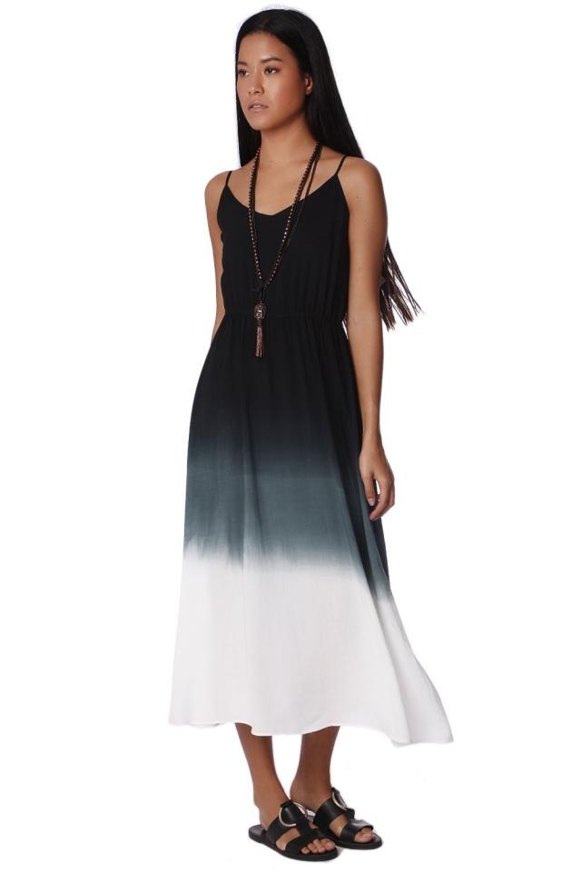 Vestido largo de tirantes con teñido degradado gris