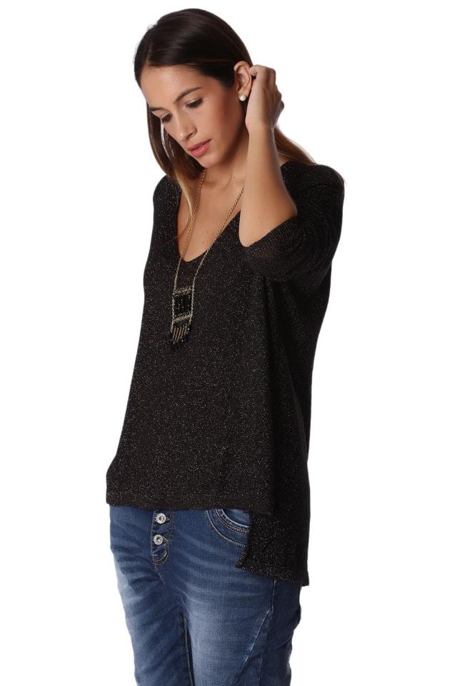 Jersey de manga larga con bajo asimetrico de punto de lurex negro