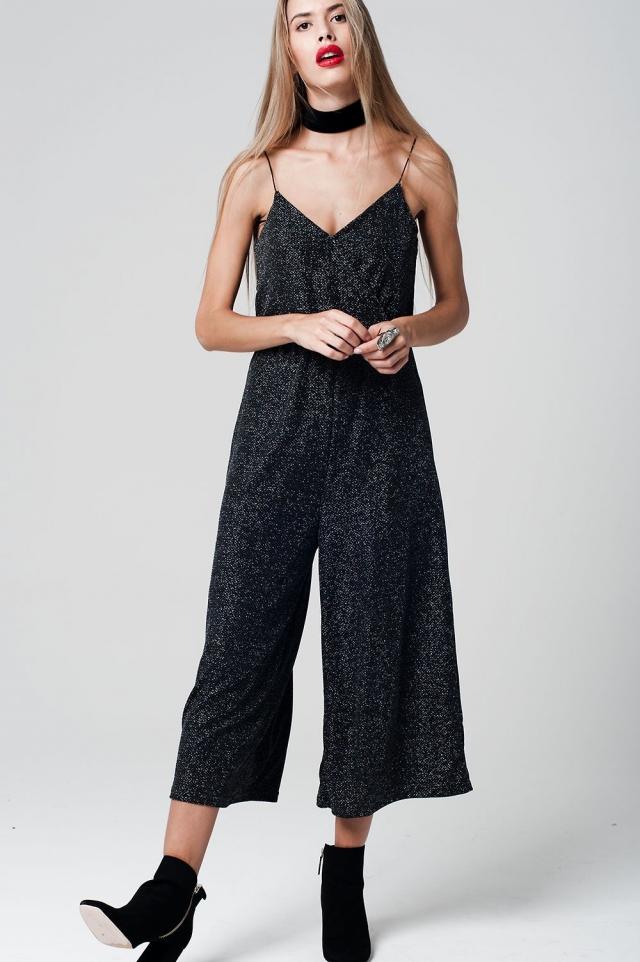 Mono largo negro tejido metálico de tirantes con falda pantalón