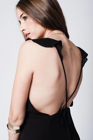 Vestido negro largo de tirantes con volantes delanteros con espalda cruzada