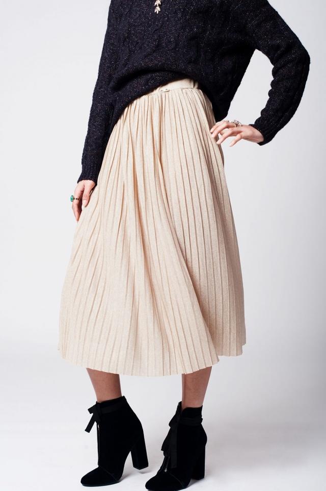 Falda plisada beige con lurex