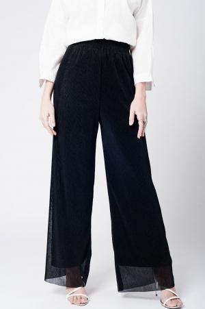 Pantalon de bambula negro con pernera ancha