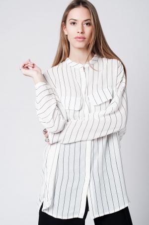 Camisa larga blanca de rayas