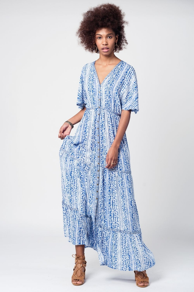 White blue printed maxi dress with gold details