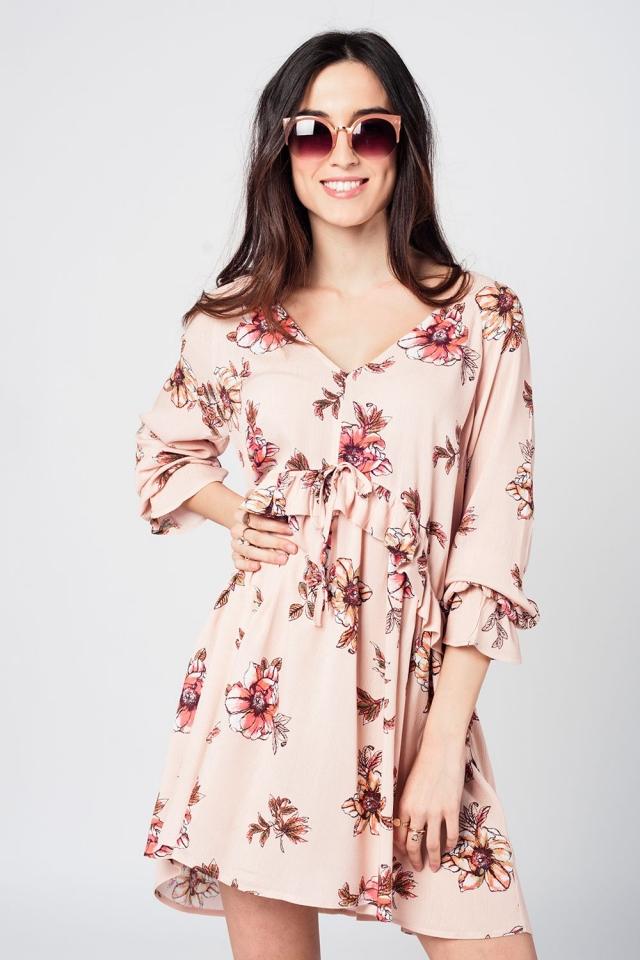 Pink tie waist  midi dress with floral print