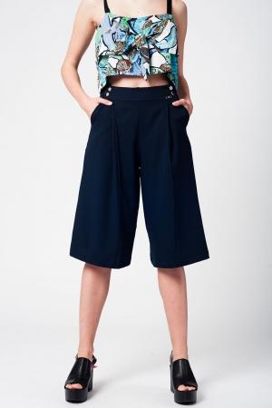 Falda pantalón navy con botones de plata