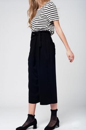 Culotte negro con lazada en la cintura