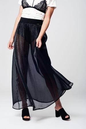 Maxi falda negra semi-transparente de gasa