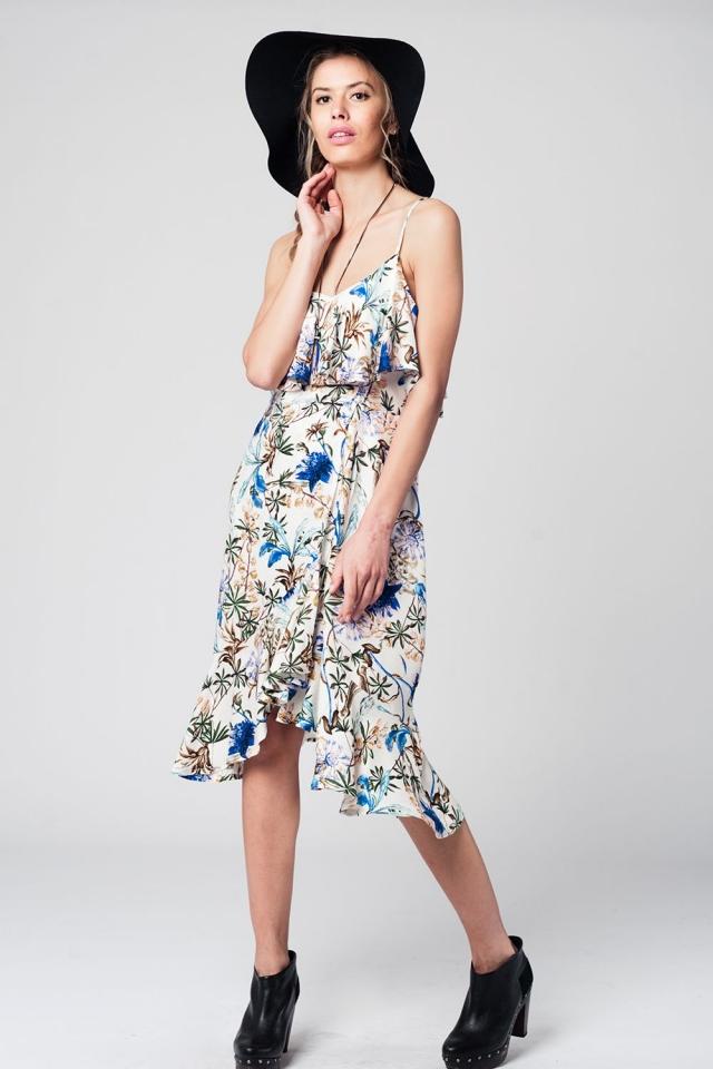 Vestido midi con estampado floral azul