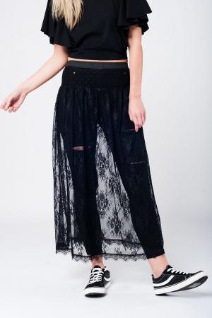 Falda larga negra de encaje