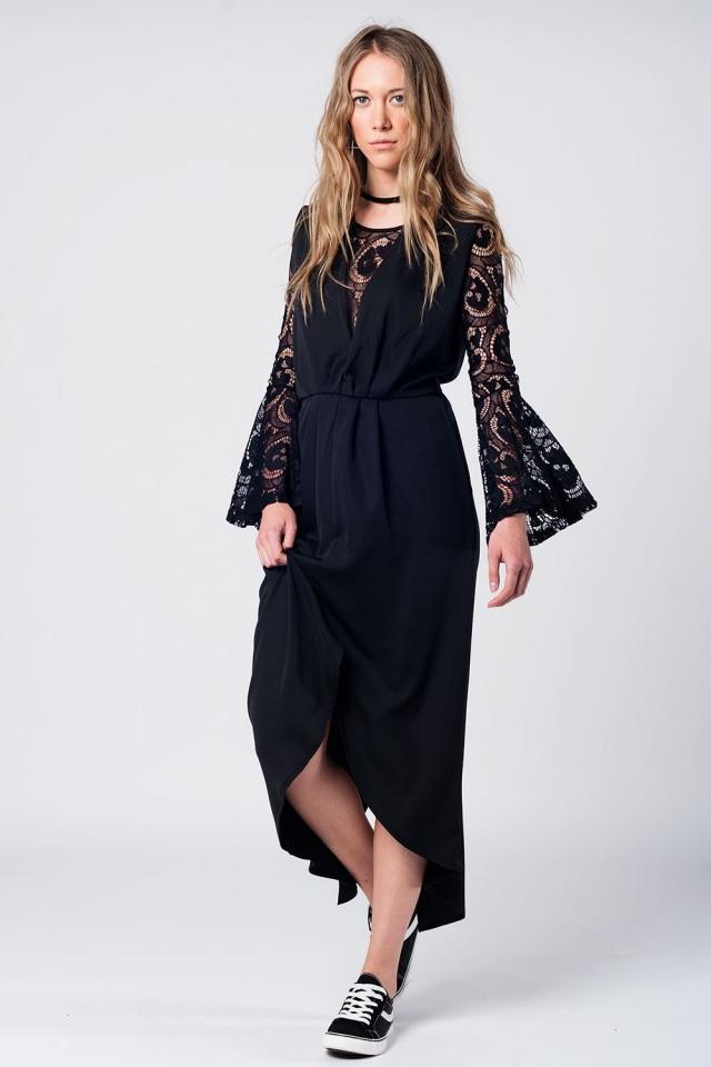 Maxi vestido negro con escote en pico