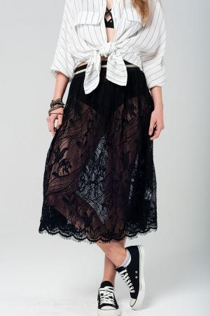 Falda midi negra de encaje