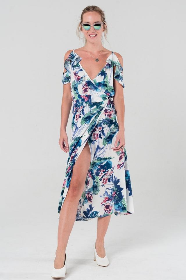 Vestido cruzado con estampado floral y volantes