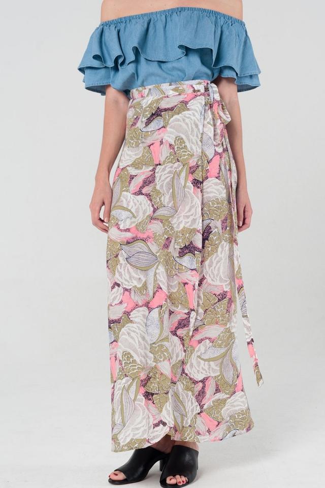 Falda larga con diseño cruzado floral en rosa y amarillo