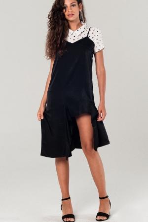 Vestido negro midi asimétrico