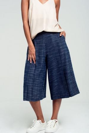 Culottes con estampado en azul marino