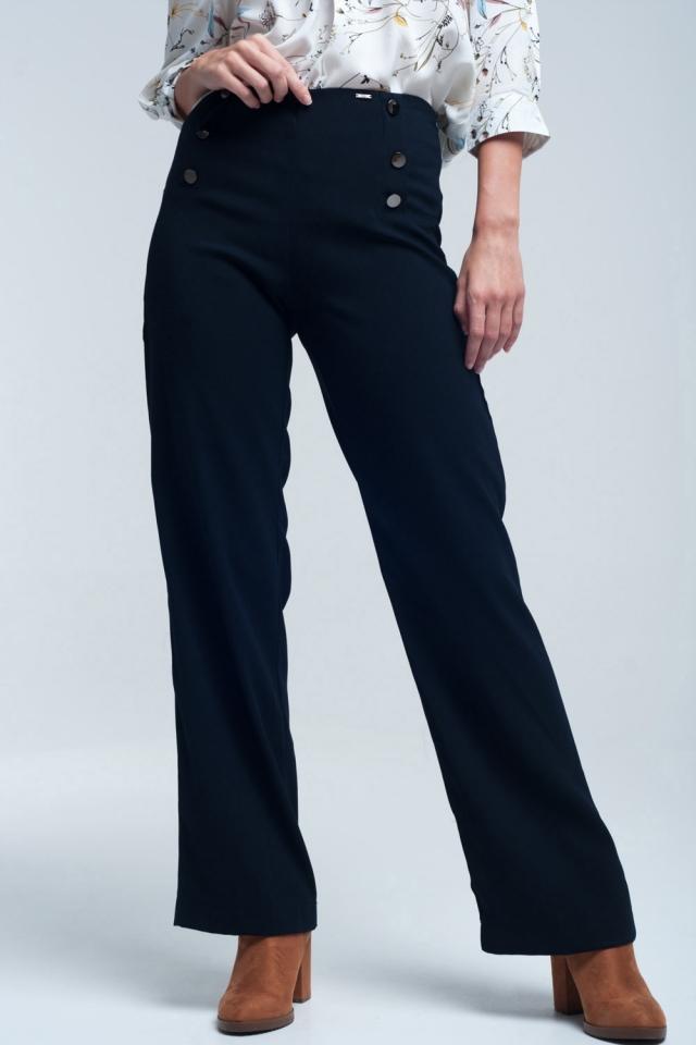 Pantalón navy estilo marinero con botones grandes en la parte delantera