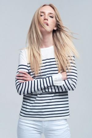 Camisa blancas a rayas navy
