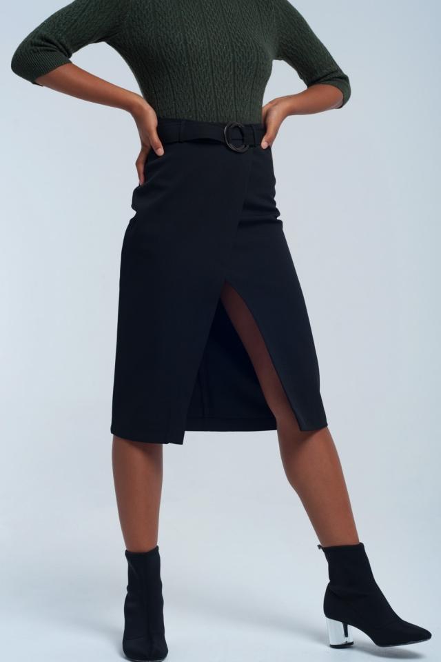 Falda negra cruzada
