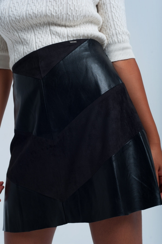 Falda negra con tejidos dúo