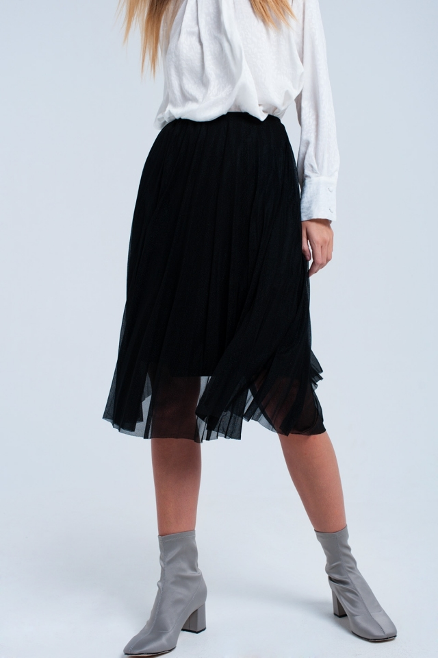 Falda negra midi plisada