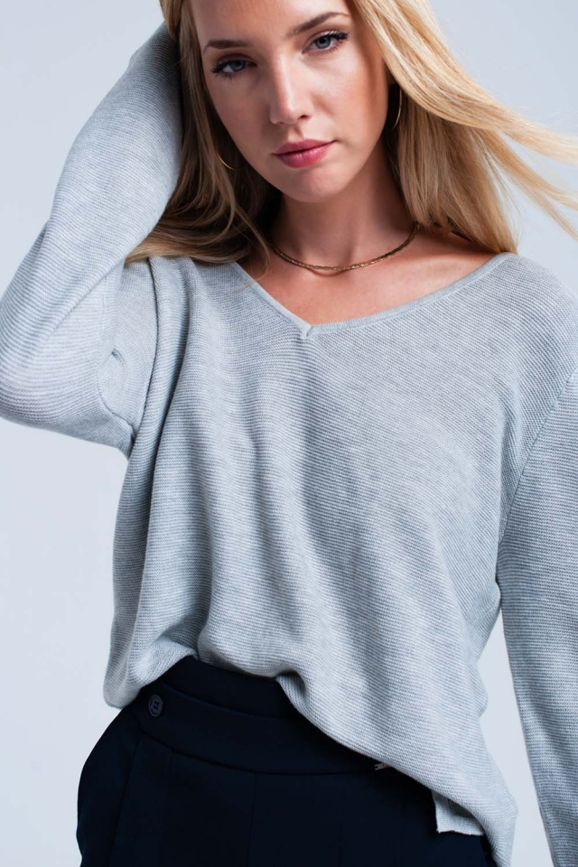 Jersey de canalé gris