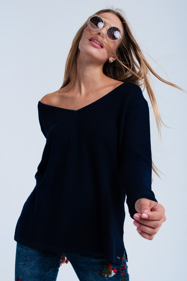 Jersey de canalé azul oscuro