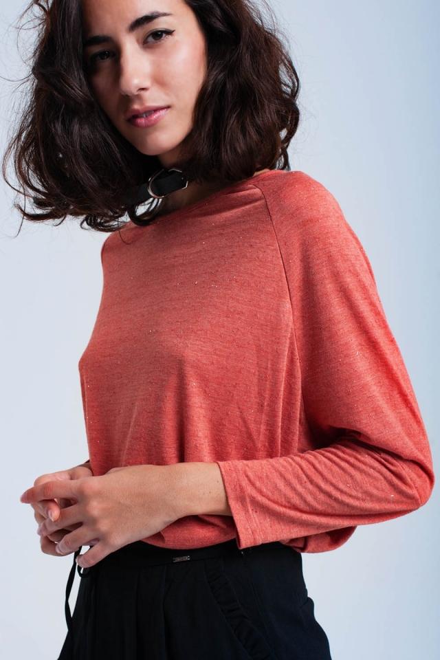 Camisa de gran tamaño color coral