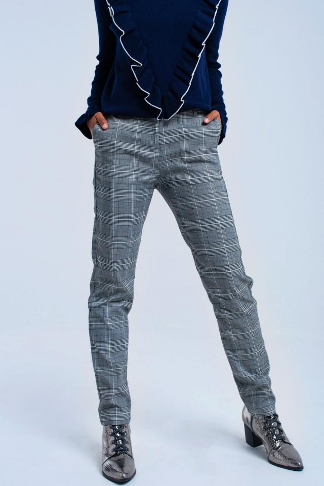Pantalón de tartán gris