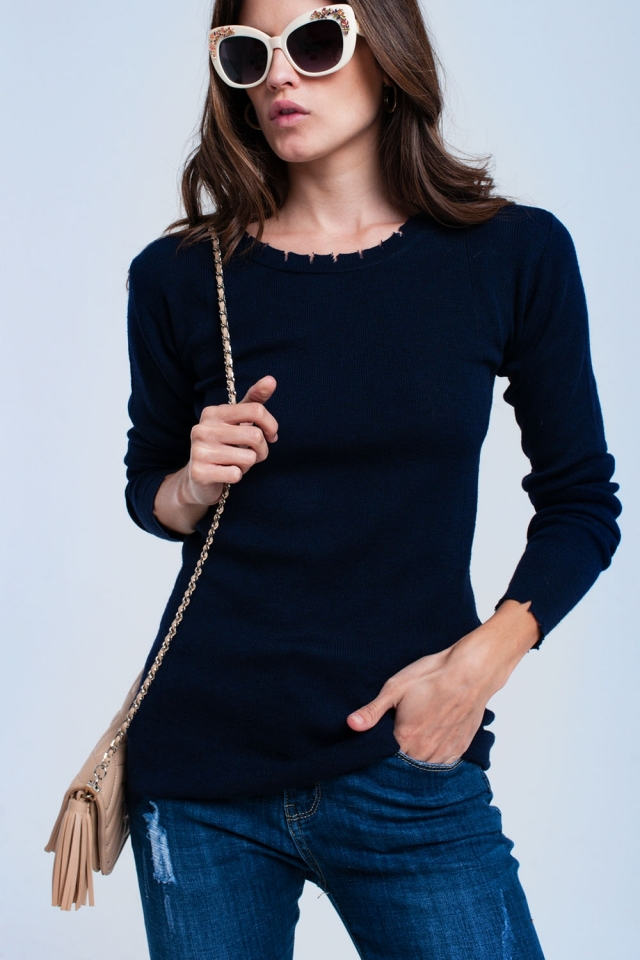 Navy sweater with little cuts