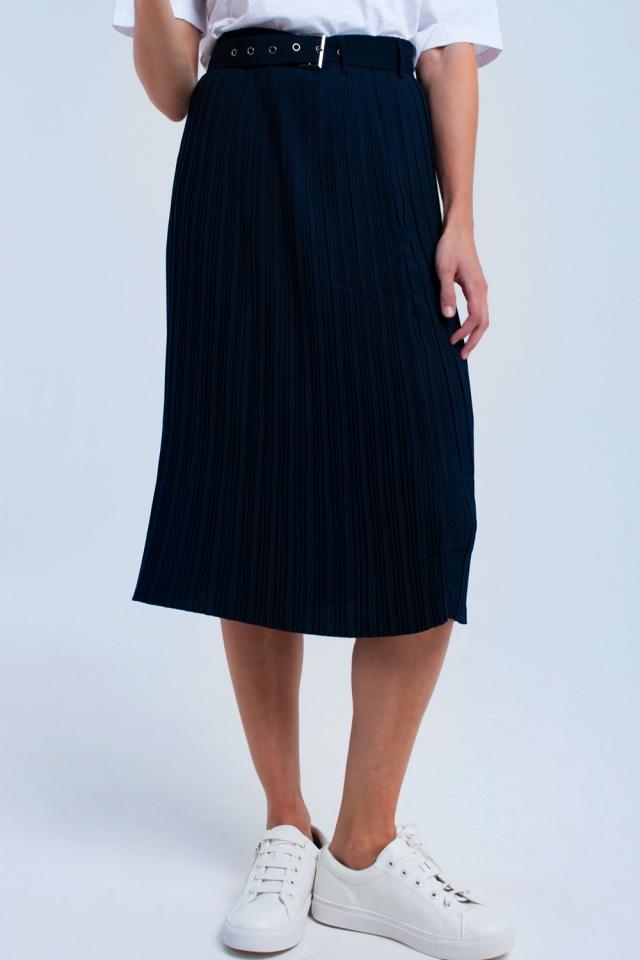 Falda midi azul con cinturón