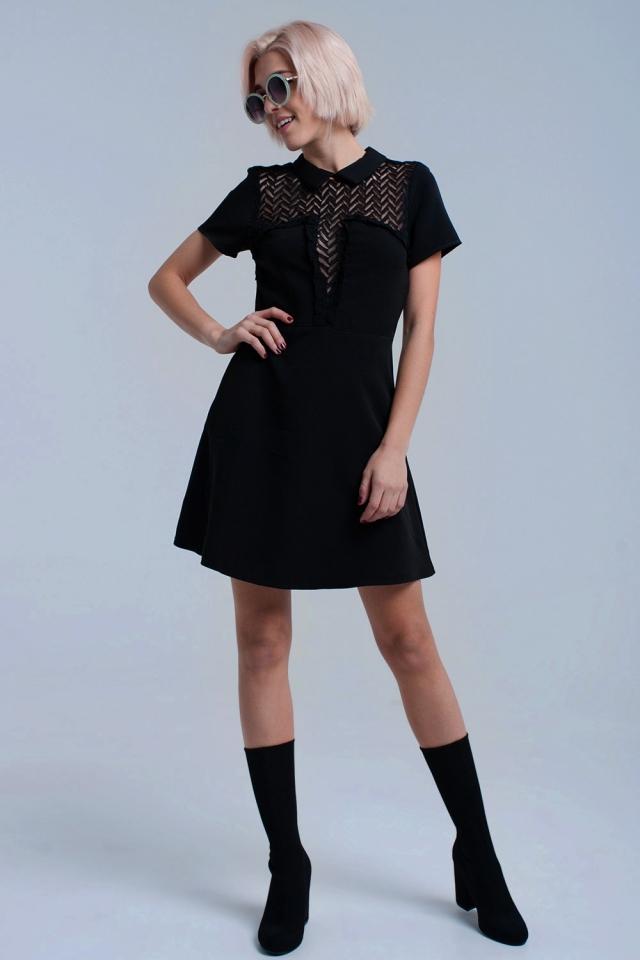 Vestido mini negro con encaje